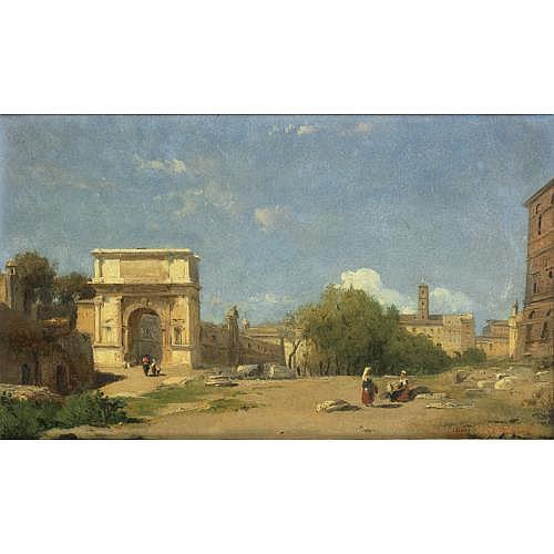 Léon-François-Antoine Fleury Paris 1804 - Paris 1858 , L'arc de Titus à Rome