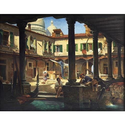Antonietta Brandeis Miskowitz 1849 - 1920 Venise , Personnages dans la cour de San Gregorio à Venise