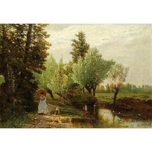 Guglielmo Ciardi Venise 1842 ou 1843 - Venise 1917 , Jeune femme lisant sur les bords d'une rivière
