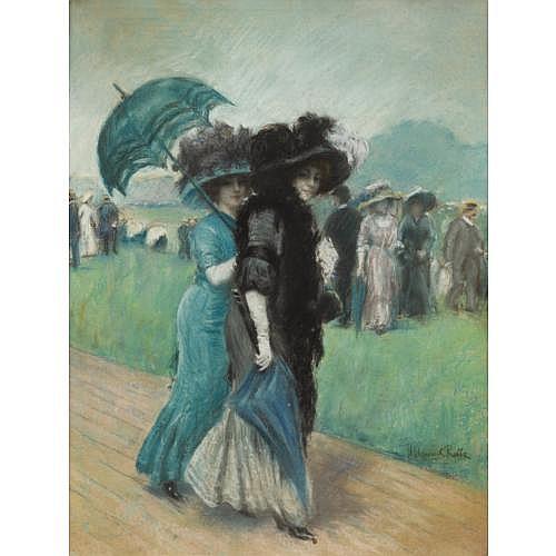 Manuel Robbe Paris 1872 - 1936 Paris , Elégantes aux courses