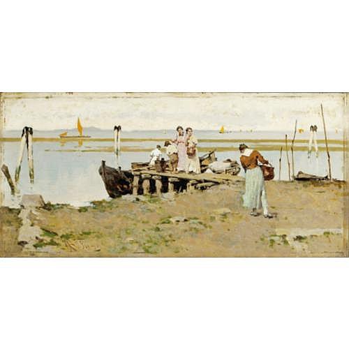 Achille Formis Befani Naples 1832 - 1906 Milan , Vue sur la lagune