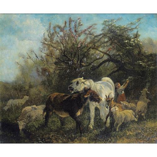 Giuseppe Palizzi Lanciano 1812 - 1888 Passy , Enfant et moutons dans la campagne