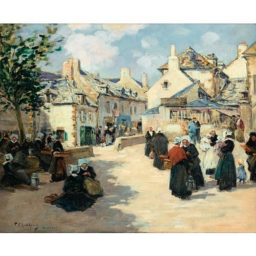 Fernand-Marie-Eugène Legout-Gérard Saint-Lô 1856 - 1924 Paris , Le port de Concarneau; Jour de Marché à Audierne (Bretagne)