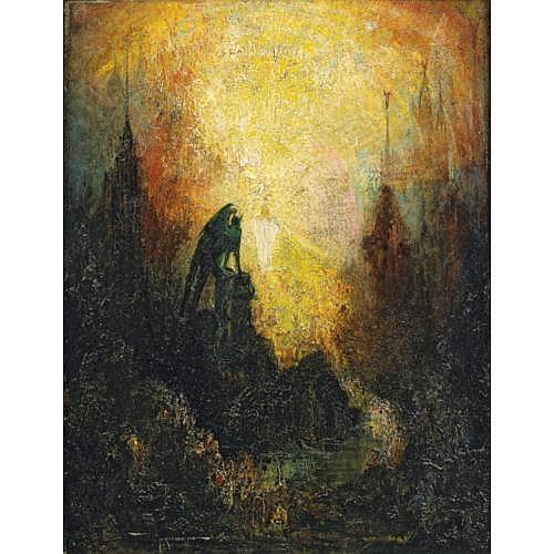 Pinky Marcius-Simons New-York 1867 - 1909 Bayreuth, Ecole Americaine , La vision du démon