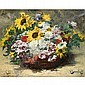 Georges Jeannin Paris 1841 - 1925 ? , Panier de roses et tournesols, Georges Jeannin, Click for value