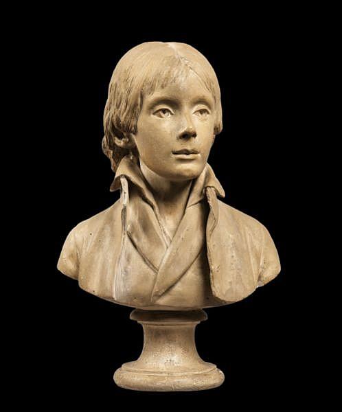 Buste de jeune homme France, vers 1790-1795, cercle de Louis-Pierre Deseine (1749-1822) , A circa 1790-1795 French plaster portrait bust of a young man, circle of Louis-Pierre Deseine (1749-1822) plâtre patiné