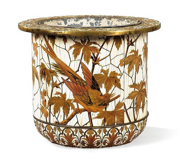 Grand cache-pot en marqueterie d'ivoire et bois teinté vers 1880 , signé Duvinage et Giroux , An ivory and stained wood marquetry cache-pots by Duvinage and Giroux, circa 1880