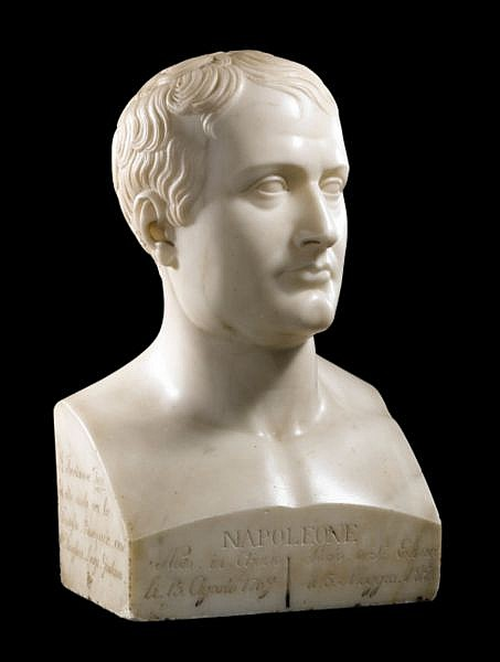 Raimondo Trentanove,(1792-1832) Portrait de Napoléon , An Italian marble portrait bust of Napoleon by Raimondo Trentanove (1792-1832), signed, dated and entitled buste en marbre blanc en forme d'hermès