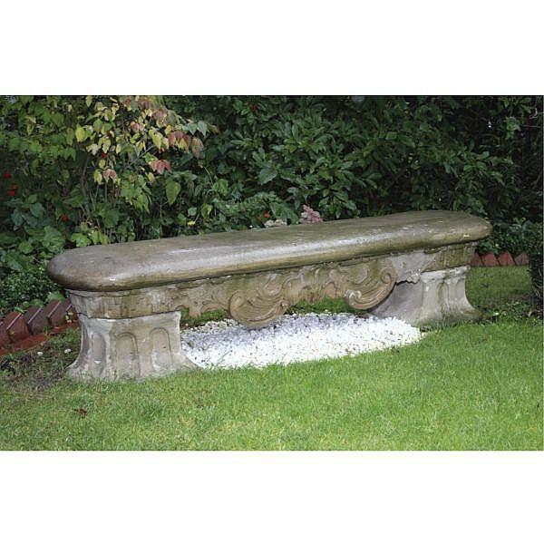 - A small German carved sandstone garden bench by Ferdinand Tiezt or Dietz (1708-1777), Würzburg mid 18th century