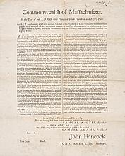 ADAMS, SAMUEL. BROADSIDE FOR ACCURATE SURVEY OF COMMONWEALTH OF MASS. 2 JULY, 1784