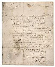 FRANKLIN, BENJAMIN. AUTOGRAPH LETTER SIGNED TO HIS COUSIN  THOMAS FRANKLIN. LONDON 8 JUNE 1770