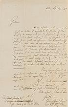 HAMILTON, ALEXANDER. AUTOGRAPH MANUSCRIPT SIGNED, TO THE PRESIDENT OF THE BANK OF THE UNITED STATES, 1793