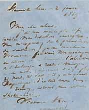 HUGO, VICTOR. AUTOGRAPH LETTER SIGNED TO COLONEL JOHN LEWIS PEYTON. HAUTEVILLE HOUSE. 2 JANUARY 1869-[70]