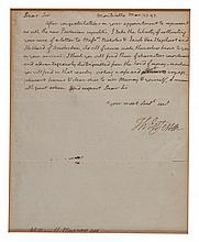 JEFFERSON, THOMAS. AUTOGRAPH LETTER SIGNED, FROM MONTICELLO, MAR[CH] 27 [17]97.