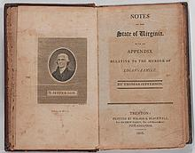 JEFFERSON, THOMAS. 3 WORKS.  NOTES, NEW YORK 1801 & PHILADELPHIA 1803; AND HENING, VIRGINIA, JUSTICE 1795