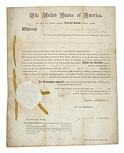 MADISON, JAMES & JAMES MONROE. SIGNED PATENT FOR CARRIAGE WHEELS. 12 SEPTEMBER, 1815.