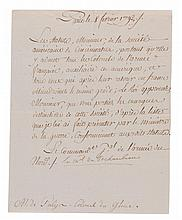ROCHAMBEAU, COMTE DE. LETTER SIGNED WHILE MARÉCHAL OF FRANCE, 1792