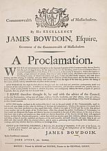 [SHAYS' REBELLION] - BOWDOIN, JAMES. A PROCLAMATION. BOSTON, 1786.