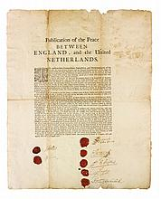 [TREATY OF BREDA]. PROCLAMATION OF THE PEACE BETWEEN ENGLAND, & UNITED PROVINCES. PRINTED DOCUMENT SIGNED. 1667