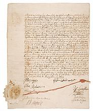 ZENGER, JOHN PETER. BROADSIDE MANUSCRIPT DOCUMENT SIGNED. NEW YORK, 2 NOVEMBER, 1731.