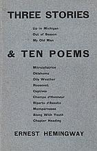 HEMINGWAY, ERNEST. THREE STORIES & TEN POEMS. PARIS: 1923. INSCRIBED.