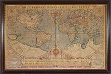 HONDIUS, JODOCUS; LECLERC, JEAN. ENGRAVED DOUBLE-HEMISPHERE WORLD MAP. ORBIS TERRAE NOVISSIMA DESCRIPTIO, 1602