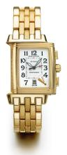 JAEGER-LECOULTRE | A YELLOW GOLD RECTANGULAR CHRONOGRAPH REVERSIBLE WRISTWATCH WITH DATE AND REGISTER<br />CASE 1907715 REVERSO CIRCA 1995