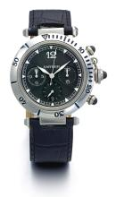 CARTIER | A STAINLESS STEEL AUTOMATIC CHRONOGRAPH WRISTWATCH<br />CASE 2113 PASHA CIRCA 2000