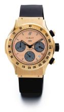 HUBLOT | A PINK GOLD AUTOMATIC CHRONOGRAPH WRISTWATCH WITH DATE AND REGISTERS<br />REF 1925.8 CASE 474745 NO 003/100 CASE 2000