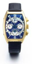 FRANCK MULLER | A FINE YELLOW GOLD AUTOMATIC TONNEAU-FORM PERPETUAL CALENDAR CHRONOGRAPH WRISTWATCH WITH MOON PHASES<br />NO 20 BIRETRO CIRCA 2001
