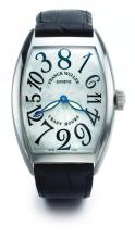 FRANCK MULLER | A LARGE TONNEAU-FORM STAINLESS STEEL AUTOMATIC WRISTWATCH WITH JUMPING HOURS<br />NO 458 CRAZY HOURS CIRCA 2010