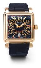 FRANCK MULLER | A LARGE PINK GOLD CURVED SQUARE AUTOMATIC WRISTWATCH WITH DATE<br />NO 287 CORTEZ CONQUISTADOR CIRCA 2005