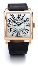 FRANCK MULLER | A LARGE PINK GOLD CURVED SQUARE AUTOMATIC WRISTWATCH WITH DATE<br /> NO 130 MASTER SQUARE CIRCA 2010