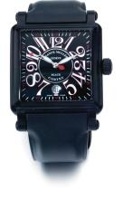 FRANCK MULLER | A LARGE BLACKENEDSTEEL AUTOMATIC CURVED RECTANGULAR WRISTWATCH WITH DATE<br />NO 441 BLACK CORTEZ CONQUISTADOR CIRCA 2005