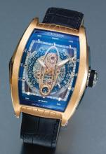 CVSTOS | A LARGE PINK GOLD TONNEAU-FORM SKELETONIZED AUTOMATIC WRISTWATCH WITH DATE