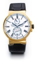 ULYSSE NARDIN | AN OVERSIZED PINK GOLD AUTOMATIC WRISTWATCH WITH DATE AND POWER RESERVE INDICATION <br />CASE 1186122 NO 138 LE LOCLE CIRCA 2010