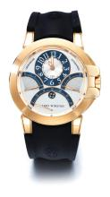 HARRY WINSTON | A LARGE PINK GOLD AUTOMATIC CHRONOGRAPH WRISTWATCH WITH RETROGRADE REGISTERS <br />CASE 029220 NO 367 CIRCA 2011
