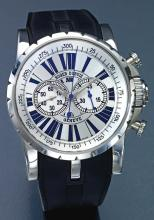 ROGER DUBUIS | AN OVERSIZE STAINLESS STEEL AUTOMATIC CHRONOGRAPH WRISTWATCH WITH REGISTER<br />NO 154/280 EASY DIVER CHRONOEXCEL CIRCA 2010