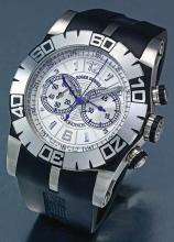 ROGER DUBUIS | AN OVERSIZE STAINLESS STEEL AUTOMATIC CHRONOGRAPH WRISTWATCH WITH REGISTER<br />NO 113/888 EASY DIVER CHRONOEXCEL CIRCA 2010