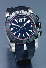 ROGER DUBUIS | AN OVERSIZE STAINLESS STEEL CERAMIC AND CARBON FIBER AUTOMATIC CHRONOGRAPH WRISTWATCH WITH REGISTER<br /> NO 365/888 EASY DIVER CHRONOEXCEL CIRCA 2010