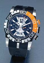 ROGER DUBUIS | AN OVERSIZE STAINLESS STEEL AND RUBBER AUTOMATIC CHRONOGRAPH WRISTWATCH WITH REGISTER<br /> NO 015/280 EASY DIVER CHRONOEXCEL CIRCA 2010