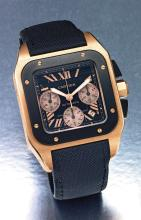 CARTIER | A PINK GOLD SQUARE AUTOMATIC CHRONOGRAPH WRISTWATCH WITH REGISTERS AND DATE<br />SANTOS 100 CIRCA 2010<br />