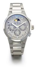 IWC | A STAINLESS STEEL AUTOMATIC PERPETUAL CALENDAR CHRONOGRAPH WRISTWATCH WITH MOON PHASES REGISTERS AND BRACELET<br />REF 3756 NO 2875263 GST PERPETUAL CALENDAR CIRCA 2001
