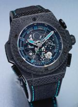 HUBLOT | A LIMITED EDITION SKELETONIZED CERAMIC STEEL AND CARBON FIBER SPLIT SECOND CHRONOGRAPH WRISTWATCH WITH REGISTER AND POWER RESERVE<br />CASE 911488 NO 74/250 KING POWER CIRCA 2010