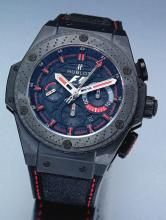 HUBLOT | A LIMITED EDITION CERAMIC STEEL AND CARBON FIBER CHRONOGRAPH WRISTWATCH WITH DATE<br />CASE 908394 NO 493/500 KING POWER FORMULA 1 CIRCA 2010