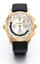GIRARD PERREGAUX | A PINK GOLD AUTOMATIC WORLD TIME CHRONOGRAPH WRISTWATCH WITH DATE AND REGISTERS<br />REF 4980 NO 285 CIRCA 2005