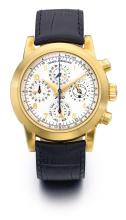GIRARD PERREGAUX | A LIMITED EDITION YELLOW GOLD AUTOMATIC CHRONOGRAPH PERPETUAL CALENDAR WRISTWATCH WITH REGISTERS<br />REF 9025 NO 064/349 FERRARI CIRCA 2000