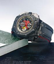 AUDEMARS PIGUET   A FINE AND RARE CERAMIC, FORGED CARBON AND TITANIUM AUTOMATIC CHRONOGRAPH WRISTWATCH WITH DATE AND REGISTERS<br />CASE G 99649 NO. 1191/1750 ROYAL OAK OFFSHORE GRAND PRIX CIRCA 2010