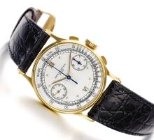 PATEK PHILIPPE | A FINE AND RARE YELLOW GOLD CHRONOGRAPH WRISTWATCH WITH REGISTERS<br />REF 130 MVT 867044CASE 646789MADE IN1947
