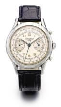 LONGINES | A FINE STAINLESS STEEL CHRONOGRAPH WRISTWATCH WITH REGISTER, TELEMETER AND TACHOMETER <p>MVT 12586560CASE 65925 CIRCA 1943<br /><br /></p>